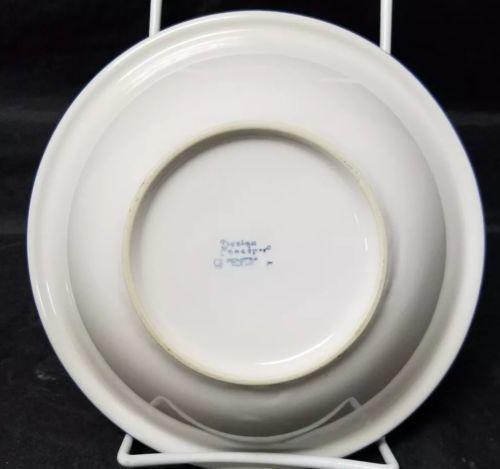 "Design Concepts Cereal Bowls Set of 4, 7"" Soup Bowls, White, Blue Trim Tulips image 7"