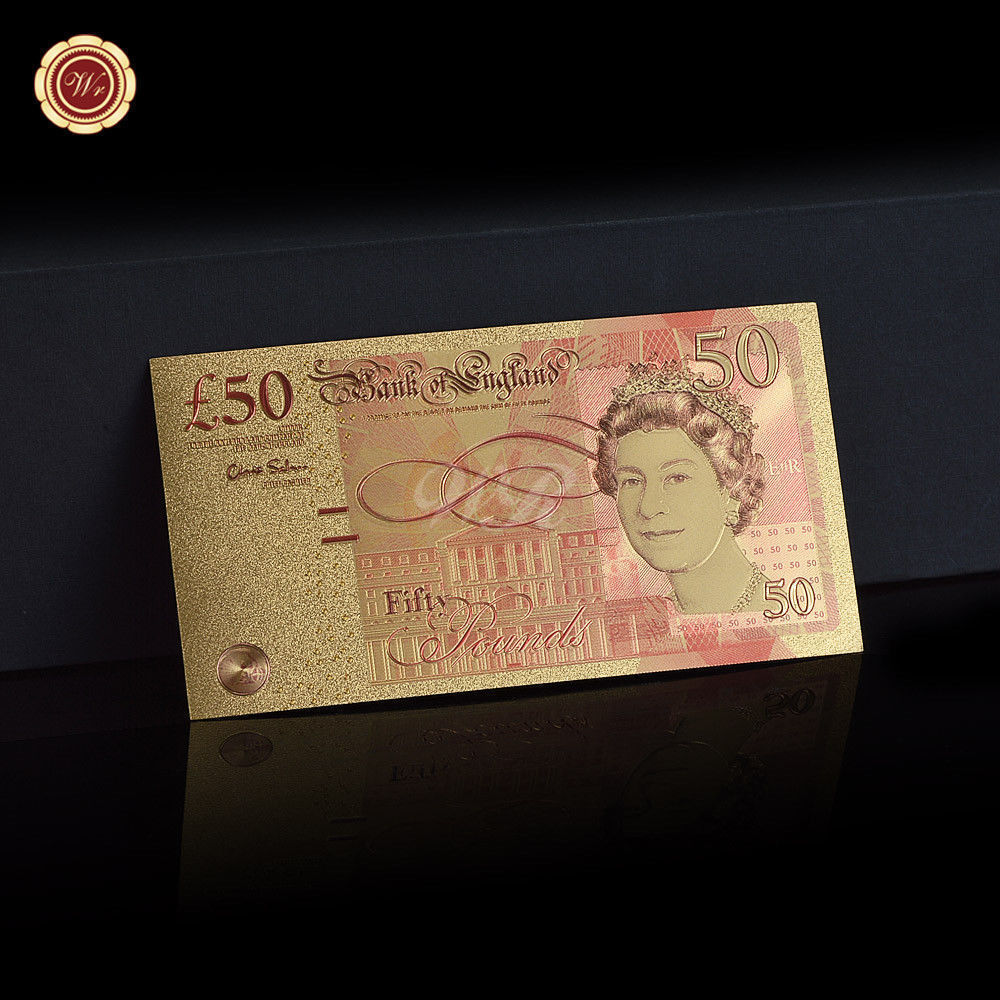 WR Set of Color Gold UK Banknotes 5 Pound - 50 Pounds British Polymer Note Gifts image 4