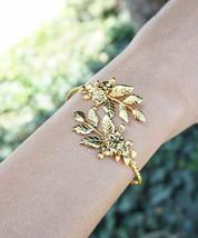 Leaf Bracelet Floral Gold Plated Goddess Adjustable Bangle Bracelet Arm Cuff - $15.79