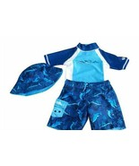 UV Skinz Boy's 3 Pc Swimset Swimwear UPF 50 Shirt Shorts Hat Sharks Blue... - $19.59