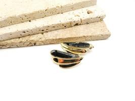 Vintage Signed Trifari Black Enamel Gold Tone Deco Style Clip On Earrings P40 - $17.84