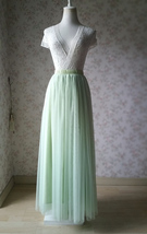LIGHT GREEN Elastic High Waist Tulle Skirt Green Wedding Bridesmaid Tulle Skirts image 1