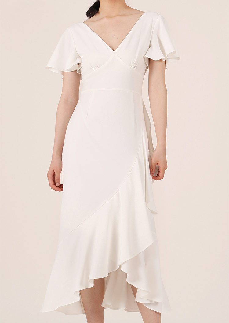 White V-neck Long Cocktail Dress Chiffon Retro Style High Waist Cocktail Dresses