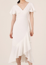 White V-neck Long Cocktail Dress Chiffon Retro Style High Waist Cocktail Dresses image 1