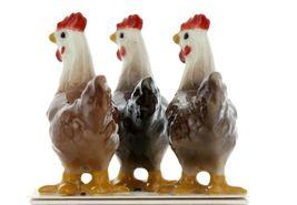 Hagen Renaker Miniature Chicken Leghorn Hens Set of 3 in Black, Brown & Red image 5