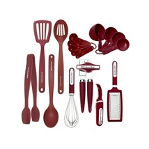 17 Pieces Kitchen Cooking Tools Set Utensils Culinary Gadget Red FAST SH... - $64.67