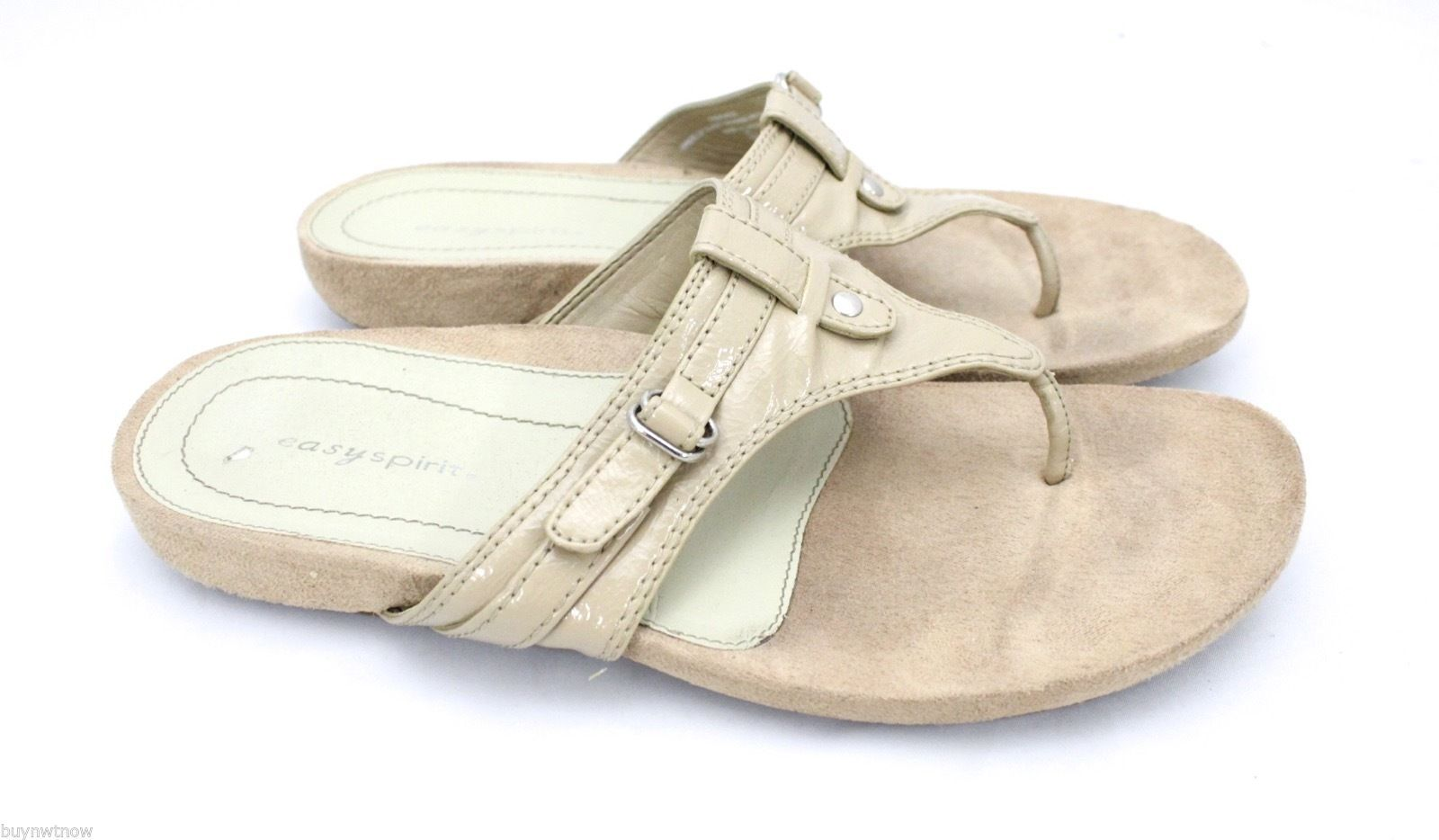 Easy Spirit Nude Patent Thong Sandals Flats 9M Geordie Flip Flop image 2