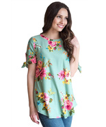 Grassy Floral Print Tie Detail Short Sleeve Blouse  - $17.25