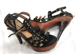 Steve Madden Womens Black Wood Platform bottom Ankle Strap Sandals Sz 7 - $9.90