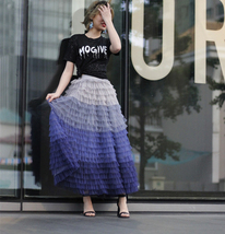 Navy Blue Tiered Tulle Skirt Layered Tulle Midi Skirt Outfit US0-US28 image 7