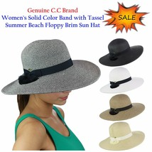 NEW C.C Women's Solid Color Band with Tassel Summer Beach Floppy Brim CC... - $18.99