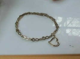 Avon Gold Tone Rhinestone Heart Charm Bracelet - $13.99
