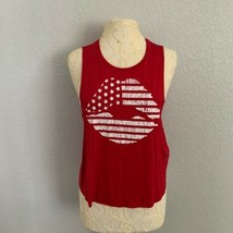Epris Muscle Tank Womens Medium Red Patriotic American Flag Lips NWOT Un... - $9.50