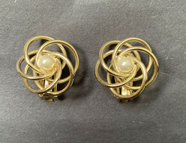 Vintage Faux Pearl Gold Tone Clip On Earrings Open Work Spiral Design - $12.58