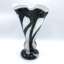 "Zorza Handmade Blown Fluted Glass Vase White Black Gold Flakes Poland 14""  - $25.99"