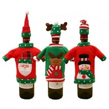 3Pcs Lot Red Wine Bottle Santa Cover Christmas Party Home Table Decoration  - $39.59