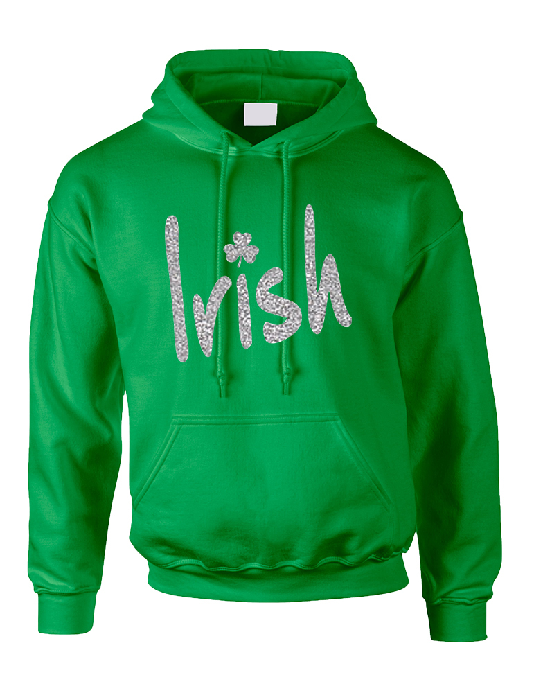 Primary image for Adult Hoodie Irish Glitter Silver Shamrock St Patrick's Top