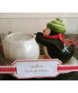 HALLMARK Chubby Penguin Pushing Snowball Tea Light Candle Holder Winter ... - $19.34
