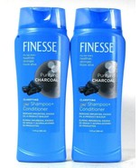 2 Bottles Finesse 13 Oz Purifying Charcoal 2 In 1 Clarify Shampoo & Cond... - $18.99