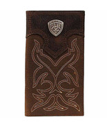 ARIAT LEATHER WALLET RODEO COWBOY WESTERN BIFOLD BROWN NEW W ARAIT CONCHO - $49.99