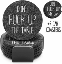 Funny Coasters For Drinks Set of 8 | 6 Absorbent Felt Coasters w/Holder ... - $19.79