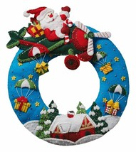 Bucilla 'Airplane Santa' Christmas Wreath, Felt Stitchery Appliqué Kit, ... - $34.99