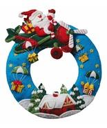 Bucilla 'Airplane Santa' Christmas Wreath, Felt Stitchery Appliqué Kit, ... - $34.99