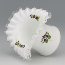 Vintage Fenton Art Glass Violets in the Snow Hat Vase Pre-Logo 1960s image 2