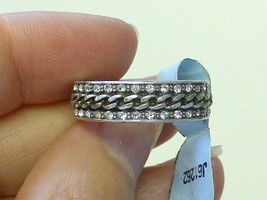 NEW Designer Brighton Chain  & Crystal Silver Band Ring Size 9 NWT $52.00 - $39.59