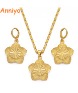 Anniyo Gold Color Flowers Jewelry set Pendant Necklaces and Earrings set... - $14.52