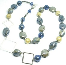NECKLACE BLUE GRAY ROUNDED DROP, SPHERE, EXAGON MURANO GLASS SQUARE, 80cm LONG image 1