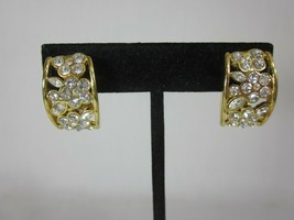 Nolan Miller Glamour Collection Flower Crystal Clip Earrings - $24.74