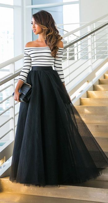Black tulle maxi skirt outfit