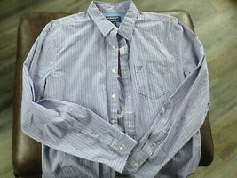 casual Shirt Mens  lg american eagle blue stripe new nwt cotton ae athletic fit - $22.27