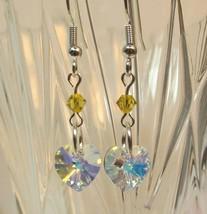 made w Swarovski Crystal Petite A/B Clear Heart Yellow Bi cone Earrings HM - $13.86