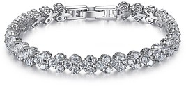 18K White Gold Plated Sterling Silver Heart Round-Cut Cubic Zirconia Wedding - $48.80