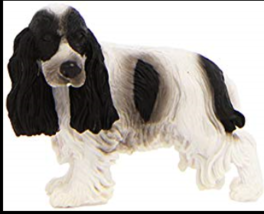 ENGLISH COCKER SPANIEL DOG FIGURINE WHITE BLACK PET COLLECTA TOY NEW - $6.60