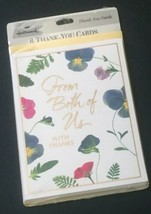 Vtg Hallmark Thank You Cards From The Both Of Us Floral With Yellow Envelopes  - $10.89