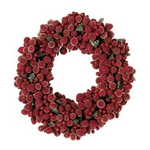 """Raz Imports Fresh Greens 6.5"""" Beaded Berry Candle Ring Red"""