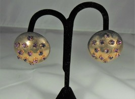 Large Gold Tone Dome Earrings Purple Rhinestones - $9.90