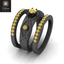 Matching Wedding Ring Set For Womens Three Stone Engagement Ring Set For Womens - $1,149.99