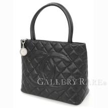 CHANEL Medallion Tote Bag Caviar Leather Black A01804 France Authentic 5... - $1,414.92