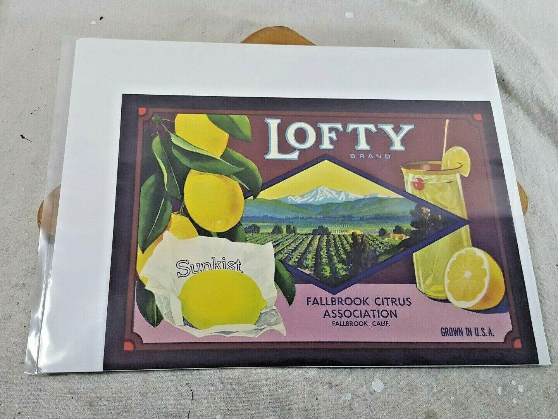Vintage Fruit Crate Label Lofty Brand Lemons Sunkist Fallbrook CA 12 x 9 - $13.85