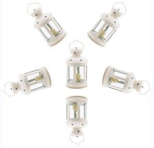 Six (6) Colonial star white metal glass hanging candleholder patio deck ... - $35.00