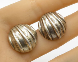 BAYANIHAN 925 Sterling Silver - Vintage Round Dome Seashell Stud Earrings E2100 - $24.58