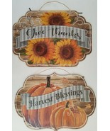 """Autumn Thanksgiving Wall Décor Hanging Boards 9.5""""H x 13.5""""W, Select: Theme - $2.99"""