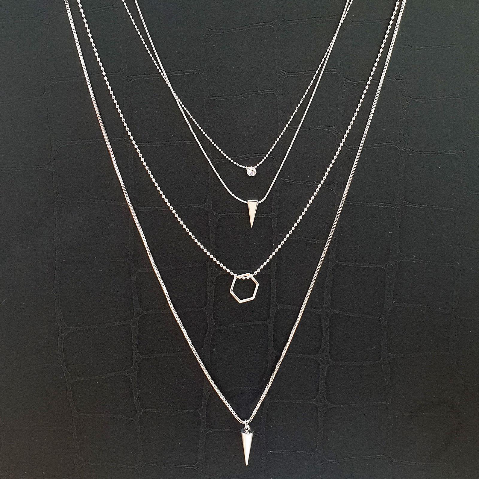 4 Layer Multi-Strand Necklace Choker Rhinestone Circle Hexagon Triangle Cone N16