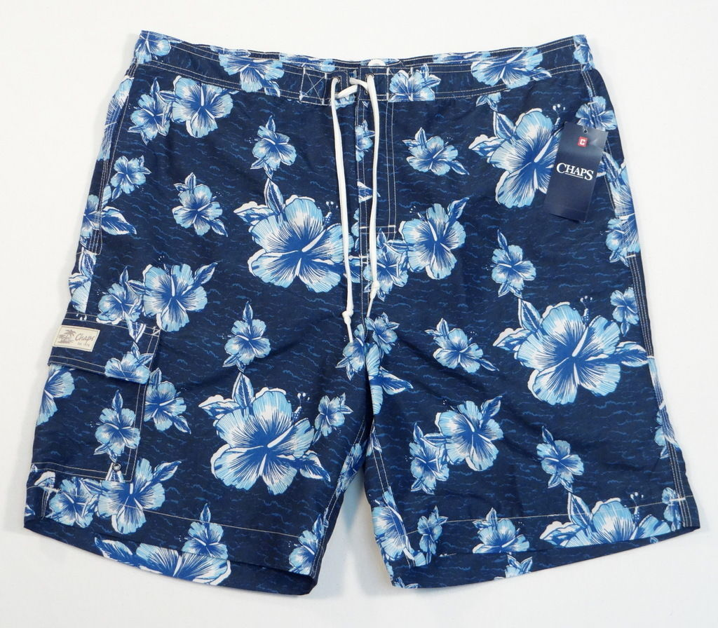 5ad89d703f Chaps Blue Floral Brief Lined Swim Trunks and 50 similar items