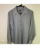 Van Heusen Mens Button Front Flex Dress Shirt Gray Slim Fit Stretch 15 1... - £7.28 GBP