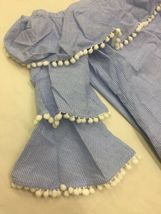 Forever 21 Blue & White Striped Tiered Ruffle Pom Pom Off The Shoulder Dress M image 6